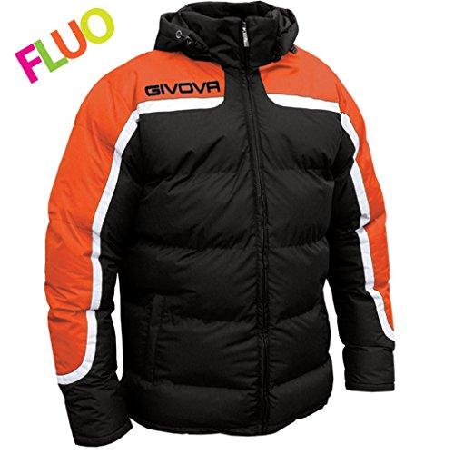 Marchio Givova - Modello Jacket Giubbotto Antartide con cappuccio removibile/Home Shop Italia (NERO/ARANCIO FLUO, M)