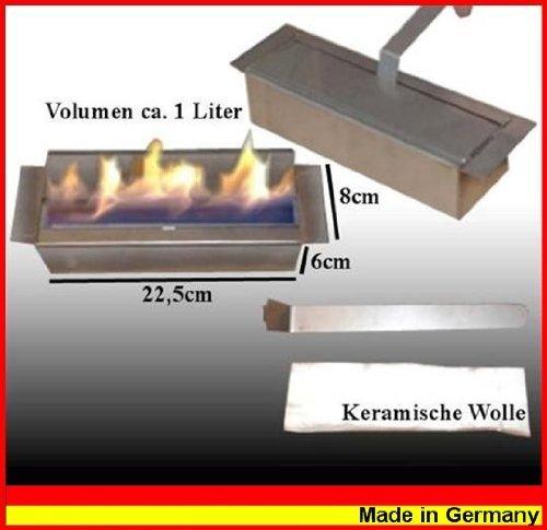 Adjustable 1-liter stainless steel burner for gel and ethanol fireplaces