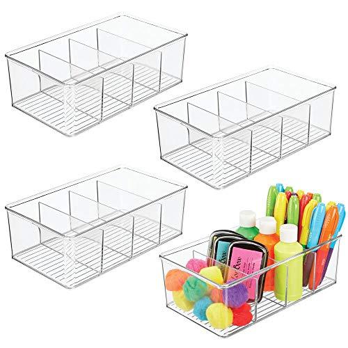 mDesign Set da 4 box in plastica per accessori per cucire - Organizer salvaspazio per colori, penne,...