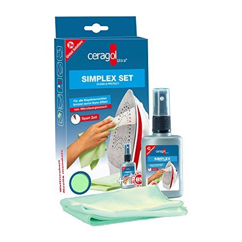 ceragol ultra Simplex Set - Bügeleisenreiniger, Sprühflasche & Microfasertuch