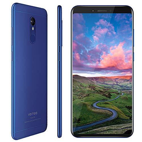 Vernee M6 Teléfono Móvil Android, Pantalla HD 5.7 Pulgadas, 3300 mAh, 4GB RAM+64GB ROM, Cámara Doble 16MP+13MP, Desbloqueo Rápido Huella, Dual SIM y Dual Navegación, Smartphone Libre 4G - Azul