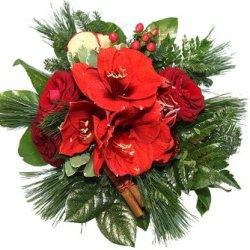 floristikvergleich.de Blumenstrauß Weihnachten – Adventsstrauß mit Rosen und Amaryllis