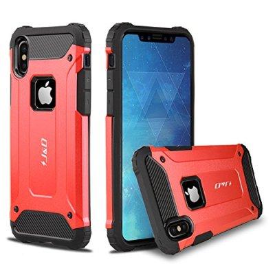 J&D Compatibile per Cover iPhone X, [Protezione Robusta] [Armatura Sottile] Ibrida Antiurta Protettiva aspra Custodia per Apple iPhone X – Rosso