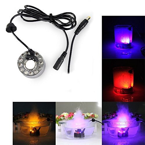 Generic US Plug : 12 LED Multicolor Changing Mist Maker Fogger Water Fountain Pond Fog Machine Atomizer Air Humidifier