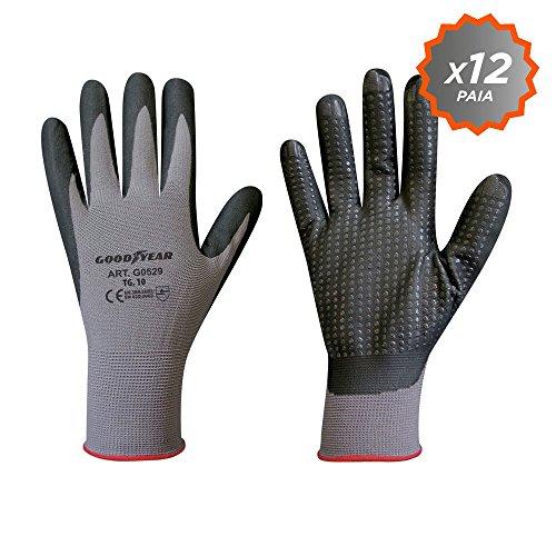 Confezione da 12 guanti Goodyear in filato di nylon elasticizzato con palmo ricoperto in schiuma di...