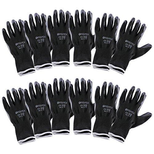 Incutex 12 pares guantes de trabajo guantes de montaje guantes mecánico guantes de construcción con revestimiento en nitrilo, talla M