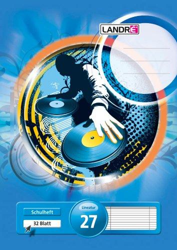 LANDRE 100050058 Schulheft 10er Pack A4 32 Blatt Lineatur 27 - liniert mit Doppelrand 3 Motive sortiert