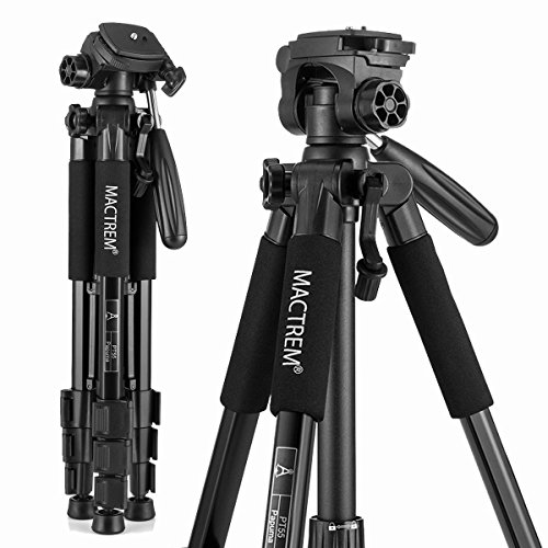 Trípode Cámara Reflex Mactrem Trípode Completo Flexible Tripode Camara Deportiva PT55 con Rótula para DSLR EOS Canon Nikon Sony Trípode para Viajes (Negro)