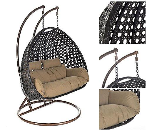 Home Deluxe Polyrattan Hängesessel Twin XXL, inkl. Sitz- und Rückenkissen (braun)