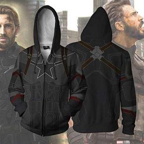 Cosplay Capitán América 3D Impreso Suéter Cremallera Sudadera con Capucha Suéter Vestido Ropa De Adulto Black-L