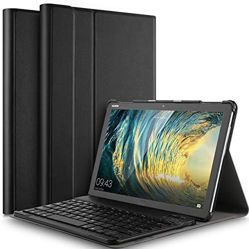 IVSO Tastiera Custodia Portfolio per Huawei Mediapad M5 Lite 10 [QWERTY English], Slim Custodia in...