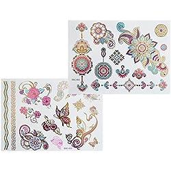 XL colores multicolor Metallic Tattoo SC02022Flash Diseño Mandala Elefante Henna Tatuaje Oro Rosa Azul Lila Flores tatuaje adhesivo-XL arco