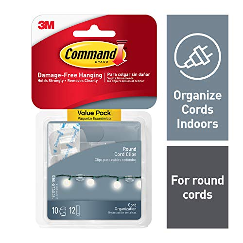 3M Command Plastic Round Cord Clip (Clear, 4 Clips, 5 Strips) (Pack of 2)