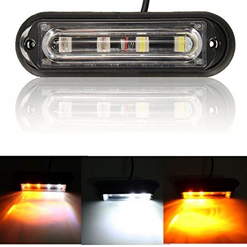 MASUNN 4 LED Impermeabile autocarro di Emergenza strobo Flash Lampeggiante Ambra e Bianco Luce DRL