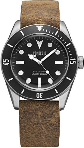 Fonderia Herren-Armbanduhr Casual Analog Leder-Armband braun Quarz-Uhr UAP6A002UN2