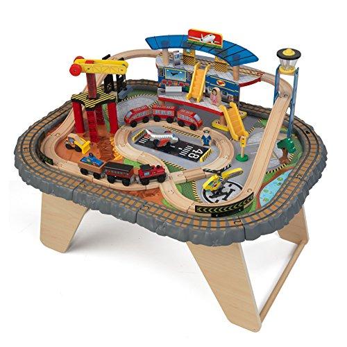 KidKraft 17564 Set Treno e Tavolo Giocattolo in Legno per Bambini Transportation Station con 58...