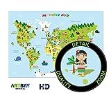 El mapamundi para niños - XXL Póster - 118,8 x 84 cm - Mapa del mundo para niños con personajes alegres y animales - Aprender jugando los continentes diferentes, las culturas y los animales en el mundo - Decoración bonita para la guardería, la casa o un regalo extraordinario.