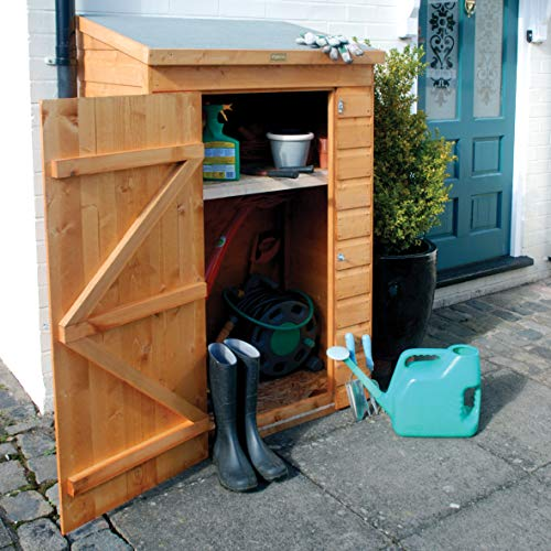 This Rowlinson Mini Wooden Storage Shed is a great consideration for anyone interested in s small shed, thanks to compact dimensions of 64 cm x 93.5 cm x 150 cm, yet the unit is large enough to contain basic gardening tools and equipment. The exterior of the shed features 12mm shiplap cladding that acts as a weatherproof layer. You can rest easy knowing that the shed can weather out the four seasons without damage.
