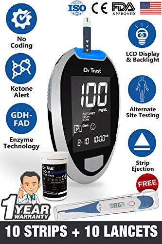 Dr TrustFully Automatic Blood Sugar Testing Glucometer Machine with 10 Strips and Digital Thermometer(Black)
