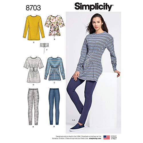 Simplicity Patterns US8703A Misses' Knit Leggings Tops and Belt Spotswear