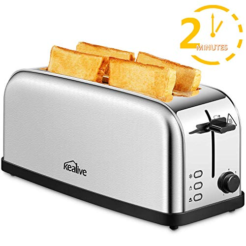 Tostapane, Kealive Toaster Vintage 4 Fette 2 Slot Lunghe, 1500W, Riscaldamento Rapido in 2 minuti, 7...