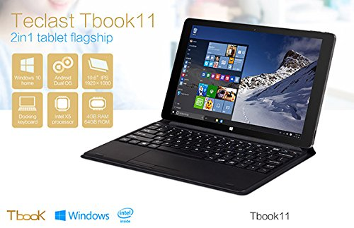 "Teclast Tbook11 Tablet PC 10.6"" Dual OS Windows 10/ Android 5.1 Cherry Trail T3 Z8300 Quad Core 4G RAM 64G ROM HDMI+Keyboard"