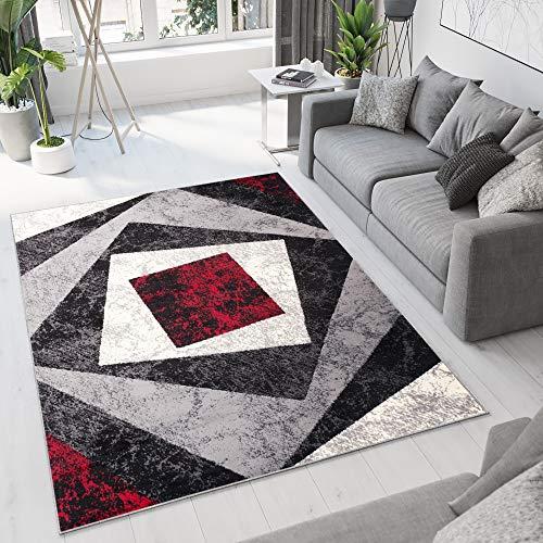 TAPISO Dream Tappeto Soggiorno Salotto Moderno Grigio Rosso Geometrico Quadrato A Pelo Corto 300 x...