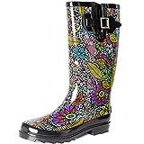 SheSole Womens Ladies Wellies Rain Wellington Boots Waterproof Rubber Festival Black Floral Size UK 3
