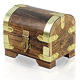Brynnberg - Caja de Madera Cofre del Tesoro Pirata de Estilo Vintage, Hecha a Mano, Diseño Retro 11x8x9cm