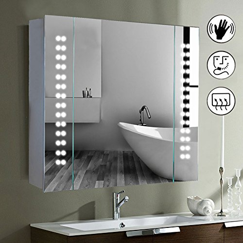minifair led illuminated bathroom mirror cabinet shaver demister