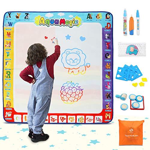 Fansteck Tappeto Acqua Doodle, Tappeto da Disegno per Bambini Misura Grande (100×100cm) con 3...