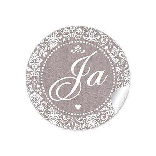 """24 STICKER: Romantische Hochzeitsaufkleber\""""JA\"""" im\""""Shabby Chic gestreiften Packpapier Retro Look\"""" mit Herz und Ornamente (4 cm, rund, matt) Für Gastgeschenke oder Tischdeko zur Hochzeit in Sand"""