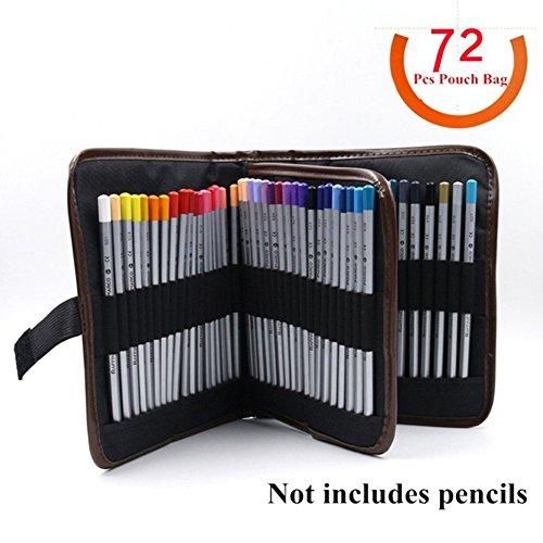 72slot matita bag, grande capacità tela interna con cerniera Tasca penna pennello di make up Tool...