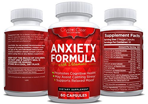 Crystal Clear Anxiety Relief & Stress Support Supplement Best For Serotonin Increase (60) Capsules