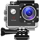Victure Action Kamera 12MP 1080P FHD Sport Action Camera Cam Wasserdichte Helmkamera Unterwasserkamera mit 170 Weitwinkel, 1050mAh Akku und kostenlosen Zubehör Kit