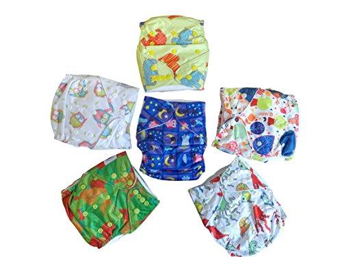 Set da 6 pannolini di stoffa unisex Three Little Imps con disegni (dotati di 2 inserti ciascuno)