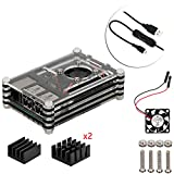 4 en 1 kit profesional para Raspberry Pi 3 & Raspberry Pi Modelo B 2, negras en rodajas 9 Capas caja de la caja de refrigeración + cable USB Mini Fan + Micro con giro / encendido, fresco (negro)