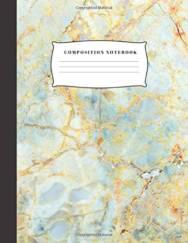 Composition Notebook: Blue-Grey and Gold Botticino Marble Blank Lined Primary Composition Notebook
