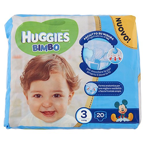 Huggies Bimbo Pannolini, Taglia 3 (4-9 kg), 1 Pacco da 20 Pezzi