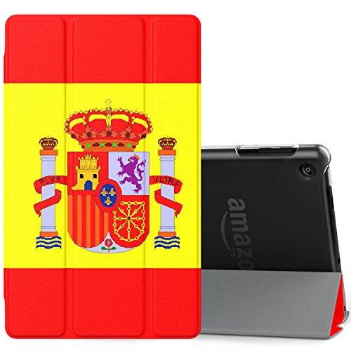 MoKo Amazon Fire HD 8 2017 Funda - Ultra Slim Ligero Plegable Smart Cover Case Trasera Transparente Durable con Auto Sueño/Estela para All-New Fire HD 8, Bandera de España