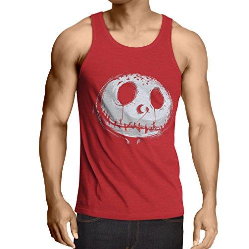 lepni.me Camisetas de Tirantes para Hombre cráneo asustadizo Cara - Pesadilla - Ropa de Fiesta de Halloween (Large Rojo