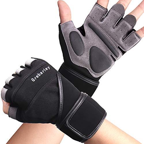 Grebarley Fitness Gloves Sollevamento Pesi, Protezione Totale del Palmo, Guanti da Allenamento...