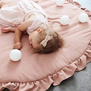 Alfombra de juegos para niños, Estera redonda del bebé del cordón para el juego que se arrastrándose durmiendo, Suave…