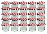 Set da 25 vasetti in vetro, per marmellate e conserve, 230 ml, coperchio avvitabile a quadretti rossi, 82 mm