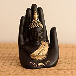 eCraftIndia Golden Handcrafted Buddha Palm Showpiece (12.7 cm x 7.62 cm x 7.62 cm, Golden and Black)