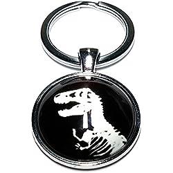 Cameleon-Shop Llavero Metal Esqueleto Dinosaurio T. rex Silueta Blanco Jurásico