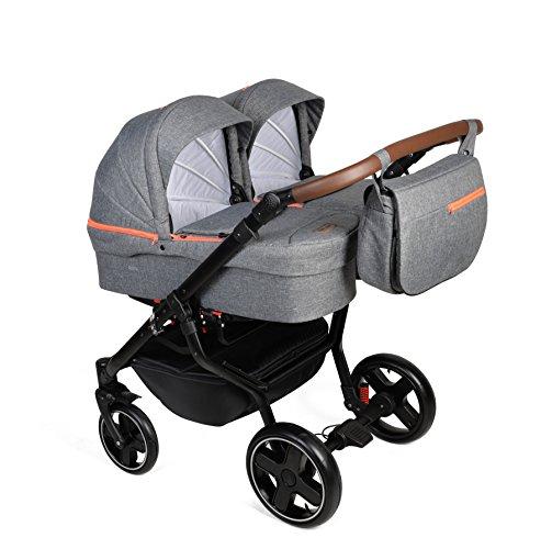 Dorjan Quick Twin Moderner Zwillingskinderwagen (Seite-an-Seite) KombiKinderwagen Duo Babywagen Buggy Kinderwagen System + Wickeltasche + Regenschutz + Insektenschutz (2w1, TQ08) Anthrazit-Orange)