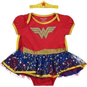 DC Comics Body Vestido de Verano de Wonder Woman con Capa y Tiara - Disfraz de Fantasía de Superhéroina para Bebé Niñas, Rojo 12 Meses