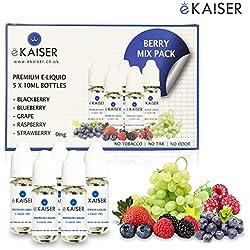 Ekaiser 5 X 10ml E-Flüssigkeit Beere Mix | Blaubeere | Brombeere | Himbeere | Traube | Erdbeere | Spezielle Formel für Dampf entwicklung und Geschmacks treffer mit nur hochwertige Zutaten | Hergestellt für E-Zigaretten E-Shisha