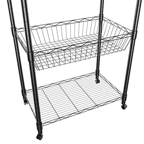 Homdox Küchenregal Küchenwagen Allzweckwagen Haushaltswagen 5-Etagen mit Korbablagen - 6